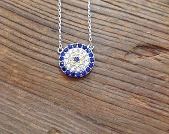 Sterling silver evil eye protector necklace