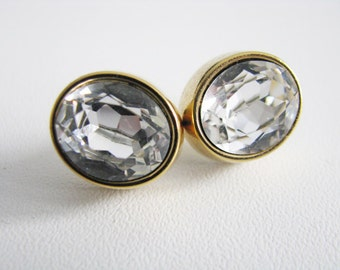 Monet Faceted Crystal Pierced Earrings Gold Tone Vintage Round