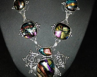 CLEARANCE *Dichroic Glass Bib Necklace