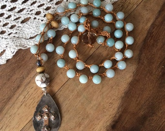 Boho gemstone necklace / crochet necklace / amozonite necklace / rustic cross necklace / beaded necklace