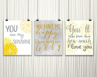 Nursery Printable Set // You Are My Sunshine // Set of Three 8x10 Prints // Piper and Lily Prints // Yellow and Gray // Flower Printable