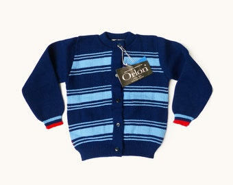 60's Blue Striped Cardigan New Old Stock British Made 3-4Y