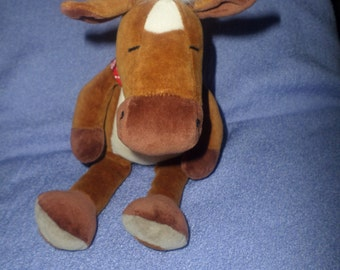 "Vintage Manhattan Toy Horse plush Velour Small 9"" brown white red bandanna pony"