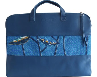 Blue - leather laptop bag