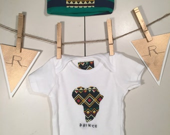 Infant African Prince onesie and hat