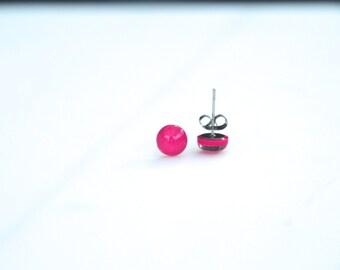 Fuchsia stud earrings/handmade earrings / everyday earrings/ stud earrings