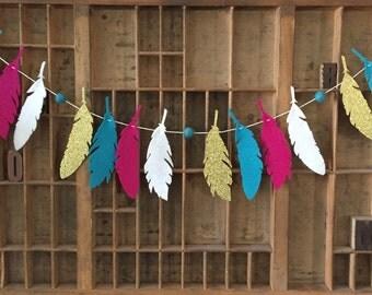 Wild Love Feather Garland - Nursery Decor - Felt Garland - Boho Nursery -  Woodland Nursery - Baby Shower Decor -  Baby Shower Gift