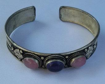 Ethnic Amethyst Pink Stone TibetanSilver Cuff Bracelet