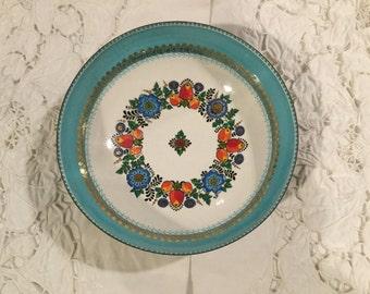 "Studio STEINBOCK AUSTRIA ENAMEL Hand Made Bowl  6.5"" Floral Fruit Design Turquoise Gold tone Scroll Dish"