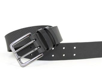 Perforated Jean Belt in Genuine Italian Leather - Black