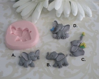 Elephant Molds - Small Elephant Silicone Molds - Elephant Flexible Molds - Flexible Molds - Silicone Molds - Food Safe Molds - Craft Molds