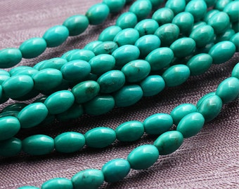 Nature Chinese Turquoise Beads Supplies, Full Strand 4*6 6*8mm Seed Turquoise Gemstone Beads for DIY Jewelry Making,Bracelet Accessories