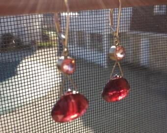 Garnet Drop Leverback Dangle Earrings 14k White Gold