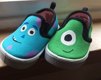 Free Shipping - Monsters inc Mike and Sully hand painted shoes