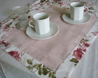 Pink linen napkins natural linen placemats romantic napkins set dinner napkins rose wedding napkins original design by Luxoteks