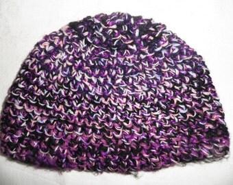 Purple Hand Crocheted Beanie Hat  Size M