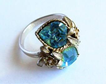 """Vintage Sarah Coventry Faux Blue Topaz Ring, """"Love Story"""" Double Hearts Ring, Silver Tone Ring, Adjustable Size 7-8 Ring, Signed Ring, 1975"""