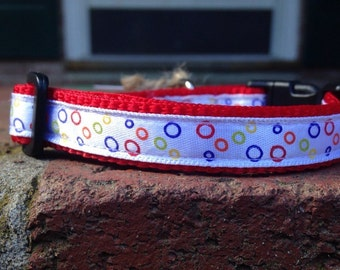 "Pre made Multicolored Bubbles 1/2"" XS/ extra small dog collar, puppy, pet, rainbow, red, adjustable"
