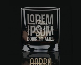 CLEARANCE: Lorem Ipsum Etched Rocks GlassMad Men Style