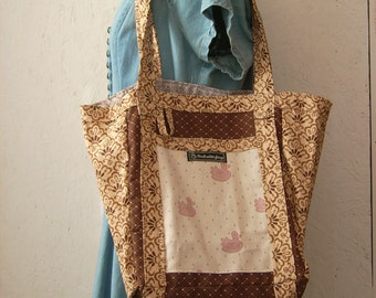 Pink Ducks On Tan and Brown Tote, Beach Bag, Market Bag, Hand Crafted