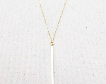 Gold Bar Necklace / Dainty Square Bar Necklace / Vertical Bar Layering Necklace / Bridesmaid/Birthday Gift Idea