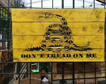 Carved Don't Tread On Me wooden sign - Patriotic Decor - Gadsden Flag - Snake Flag