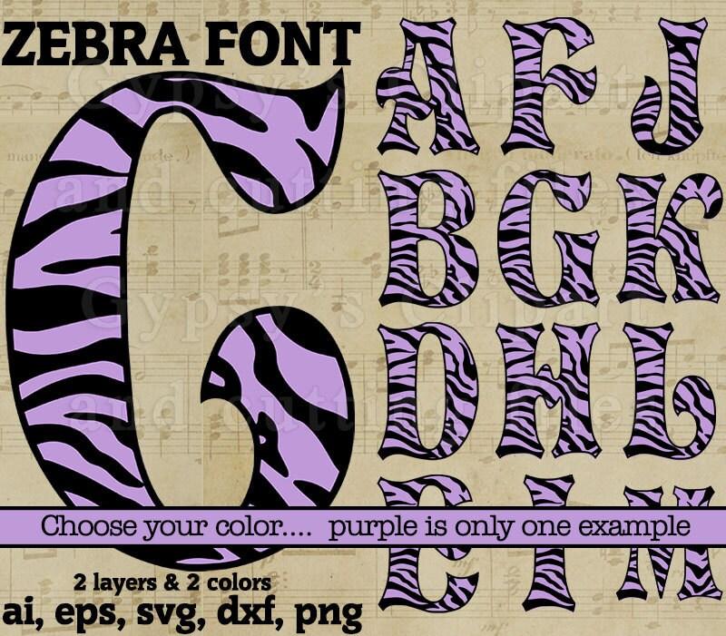 Zebra Svg Font Zebra Letter SVG Monogram Letters Girls Zebra 0 Font