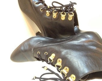 SALE----Vintage Black Leather Lace Up Ankle Boots / Pumps / Heels - By Just for Kicks