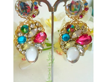 Long statement beads clip on earrings