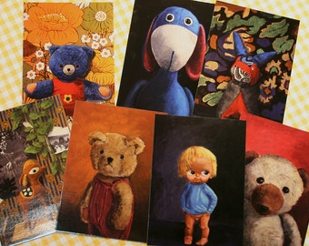 Art Postcards, Select from 7 variations, Stuffed Animal portraits, A6, Prints of Acrylic painting.