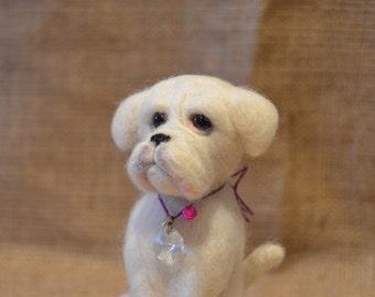 Needle felted white boxer dog