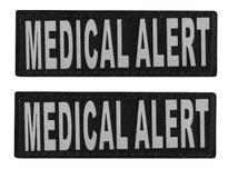 Service Dog Velcro Patch Tag Reflective Label - MEDICAL ALERT - Set of two (2)