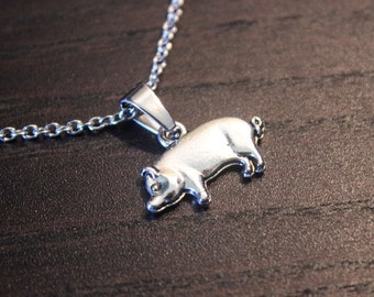 Pig Necklace|Silver Pig Necklace|Pig Jewelry