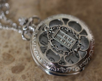 Victorian Flower Style Doctor Who Pocket Watch Necklace C75W_S