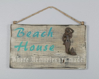 SALE PRICE .....Mermaid Beach House Sign, Rustic Beach House, Mermaids, Signs, Cottage, Lake House