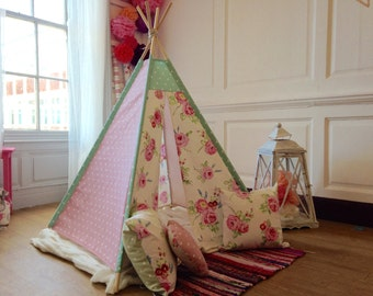 Small Handmade childrens Teepee, polkadot & floral pattern, a perfect gift, free uk postage