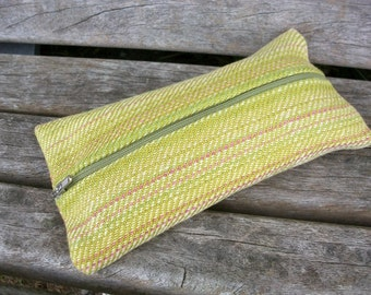 handwoven pencil cases for pens, odds and ends, Green Pink, narrow strip, linen, cotton, organizing in the handbag