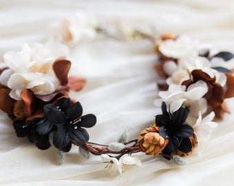 SIENNA - flower crown, wedding crown, leafy bridal headpiece, rustic flower hairpiece, fall bride, bridal wreath