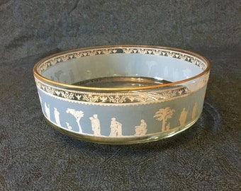 Vintage Jeannette Glass Hellenic Bowl with Gold Trim, Grecian Bowl