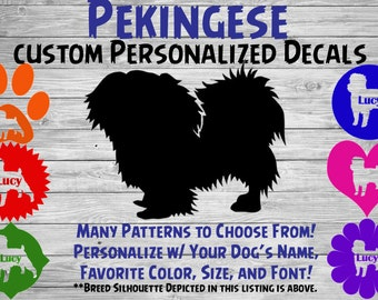 Pekingese Personalized Dog Silhouette Vinyl Decal - Dog Sticker - Car Decal - Custom Sticker – Dog Name Sticker – For Tumbler, Phone, Car
