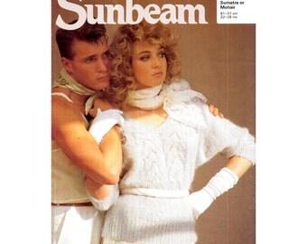 Genuine Vintage Sunbeam Ladies Glamourous V Neck Batwing 3/4 Sleeves Sweater Knitting Pattern