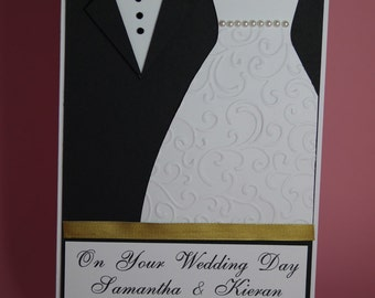 Bride and Groom, Mr & Mrs, wedding dress and suit Handmade Wedding Card, large wedding card, On your Wedding day card