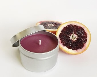 Blood Orange Candle / 6oz tin/ Natural Soy Wax / refillable/ zero waste/ fruity and tropical summer