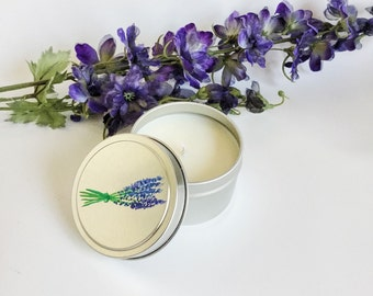 Lavender Candle/ Small/ 6oz tin/ natural soy wax/ refillable/ zero waste/ meditation candle/ handpainted/ Mother's Day Gift