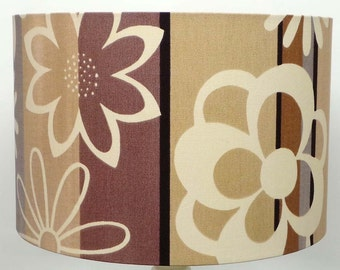 "Retro ""Latte"" Flower power  Drum, Table, Pendant, Ceiling Lampshade"