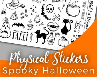 Spooky planner stickers for Halloween that you can color in | includes pumpkin cat bat witch vampire skull cauldron spider candle and candy