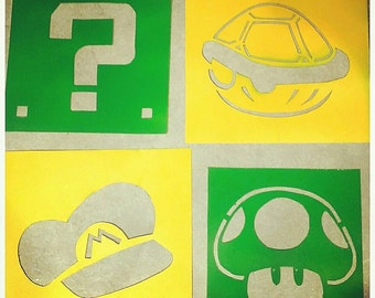 Free Shipping - Video Game theme stencils, Nintendo theme decoration for kids room. Customize your set!