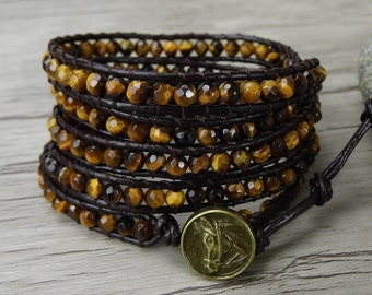 Bead wrap bracelet yoga gemstone bracelet Tiger eye bracelet boho bead bracelet men leather wrap bracelet tiger eye bead bracelet SL-0259