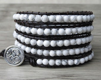 5 row beaded bracelet Wrap Bracelet Yoga Bracelet Leather Wrap Bracelet Beaded Bracelet SL-0087