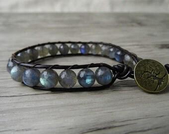 Grey Moonstone bracelet Gemstones bracelet gems wrap bracelet moonstone wrap bracelet labradorite wrap bracelet labradorite bracelet 0102